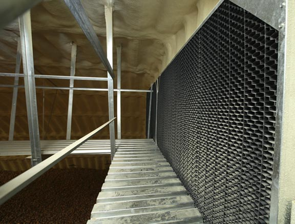 IVI's patented Daylight Block reduces potato greening during storage by decreasing visible light transmission into the storage building that would come through exhaust and return air openings.