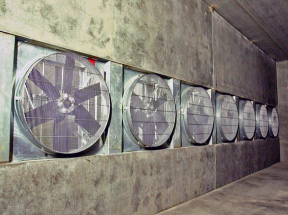 A large-capacity fan system was designed and installed for maximum ventilation control.