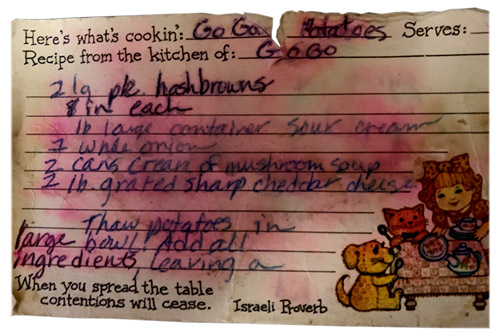 Well used recipe card for Go Go's Potatoes