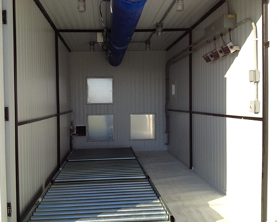 A view inside of the Lamb Weston sweet potato storage testing containers.